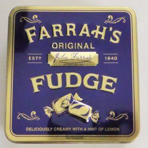 Farrahs fudge tin